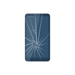 Broken mobile phone. Smartphone with a cracked screen isolated on white background. Crack on screen. Vector illustration flat design.