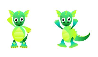Painted green cartoon dragon