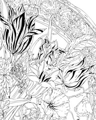 Forest flowers, floral pattern, peonies blossom, leaves.