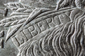 Close up of Liberty Engraving on US Coin