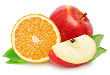 Isolated fruits. Red apple fruit with orange slice (cut) isolated on white with clipping path