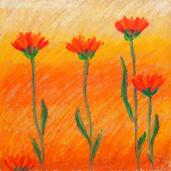 Raster illustration of crayon painted flowers on orange and yellow background.