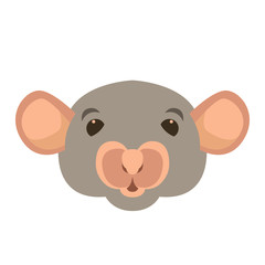 rat head face vector illustration style Flat