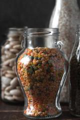 Lentils, rice in glass jars healthy food