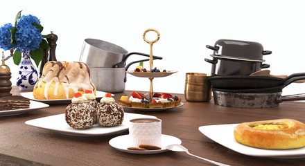 Sweets and desserts on wooden table isolated on white