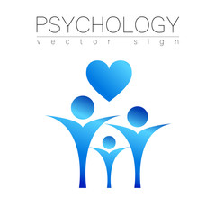 Modern people psi Sign of Psychology. Heart Family Human. Icon in vector. Design concept. blue color isolated on white background. Symbol for web, print, card