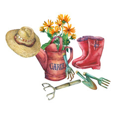 Vintage red garden watering can with a bouquet of yellow flowers, red rubber boots, solar hat from thatch and garden tools. Hand drawn watercolor painting on white background.