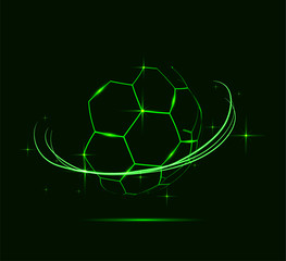 Neon lines of soccer ball.