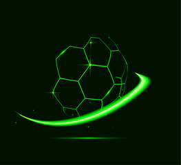 Neon lines of football ball.