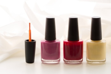 Nail polish three bottles different colours, photo