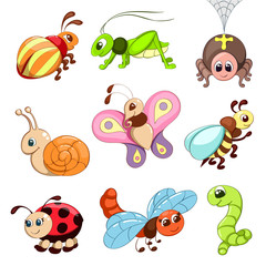 Insects icons set. Isolated on a white background. Cartoon style. Vector illustration. EPS10