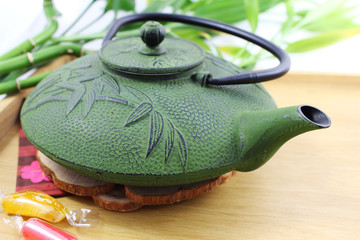 Closeup of a Chinese cast-iron teapot