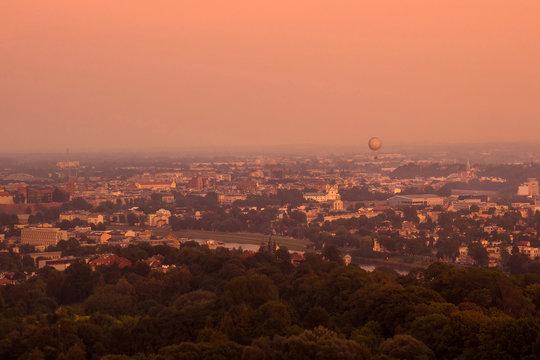 Sunset view on Kościuszko mound in Krakow, Poland