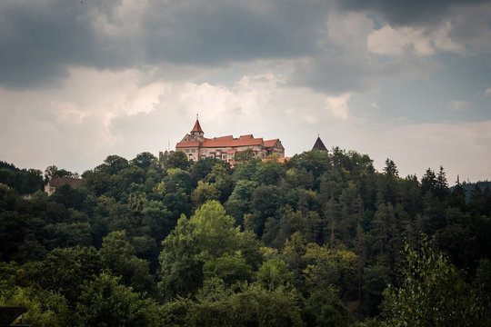 Pernstein Castle, gothic and renaissance castle in Czech Republic before the thunderstorm