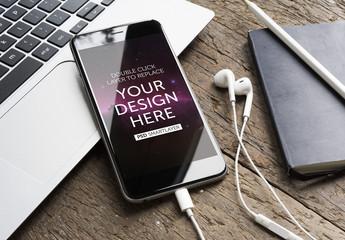 Smartphone with Headphones Mockup 5