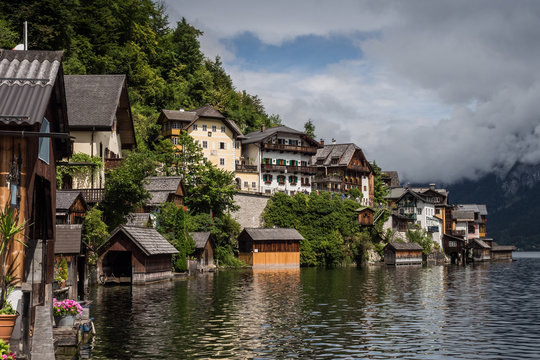 Bright sunny houses in Hallstatt, Austria.