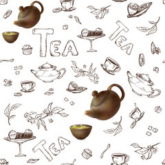 vector seamless pattern on a white background sketch of items for the tea party. 3d teapot and cups, candy, lemon, saucer