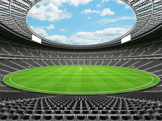 3D render of a round cricket stadium with black seats and VIP boxes