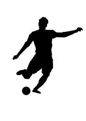 silhouette of a football player. Soccer player shooting , creative drawing, white background