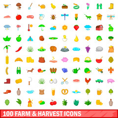 100 farm and harvest icons set, cartoon style