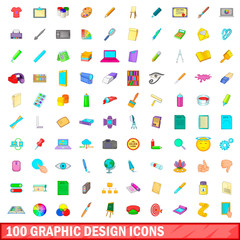 100 graphic design icons set, cartoon style