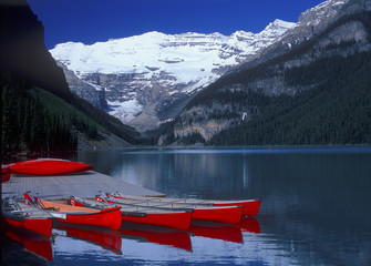 Red Canoes at Lake Louise, Banff National Park, Alberta, Canada