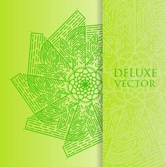 Square invite template. Vector invitation with mandala design element.