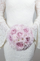 Pale lilac wedding bouquet of roses and chrysanthemum flowers