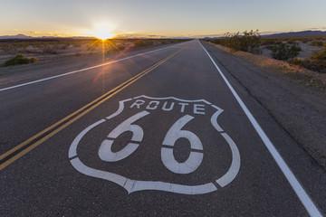 Fotobehang Route 66 Route 66 highway sign sunset in the California Mojave Desert.