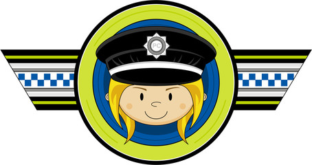 Cute Cartoon Policewoman