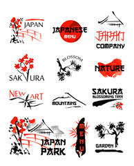 Logo templates set with asia landscapes, buildings and blossoming sakura branches symbols in traditional japanese sumi-e style. Vector sign for design