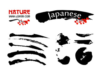 Logo templates set with asia landscapes, buildings and blossoming sakura branchs symbols in traditional japanese sumi-e style. Vector sign and black brush strokes for design