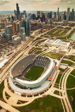 Aerial view of Soldier Field Stadium and Chicago, Illinois
