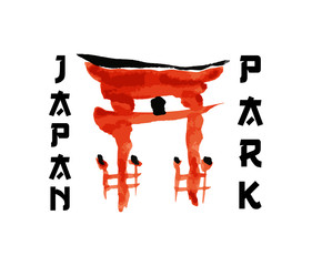 Asian gate, building symbol in traditional japanese sumi-e style. Vector red sign, hieroglypgs Japan Park design