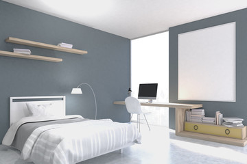 Gray walled bedroom with study corner