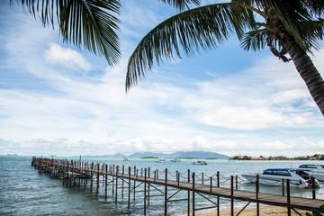 Ocean footbridge Boat Fisherman holiday beach Koh samui Thailand yacht