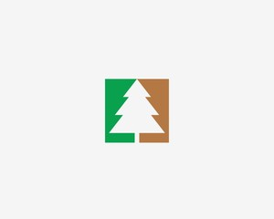 Abstract christmas tree vector logo icon . Forest icon. Fir tree logo concept.