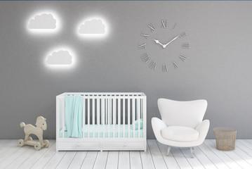 Kid's room with clocks, gray walls