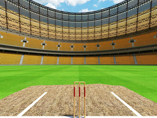 3D render of a round cricket stadium with yellow orange  seats and VIP boxes