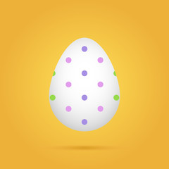 Doted colored easter egg on yellow background. Vector illustration.