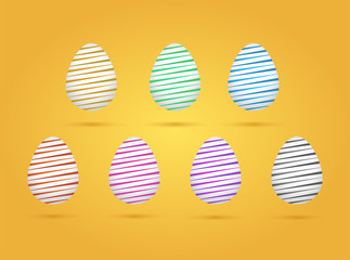 Set of realistic eggs on yellow background. Easter collection. Vector illustration.