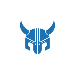 viking helmet flat icon