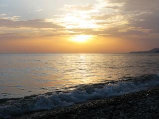 Fantastic sea ocean golden sunset horizon sky photo