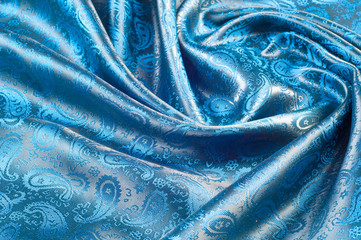 Fabric silk texture blue, flowers, abstract