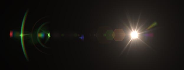 Lens flare effect. 3D rendering