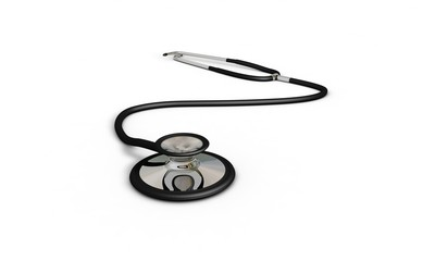 Doctor Stethoscope ,front view, 3d render