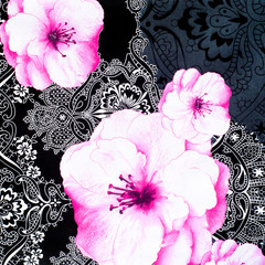 Texture, background, fabric cotton bed linen, white roses on a black background