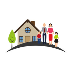 color pictogram of house with family vector illustration