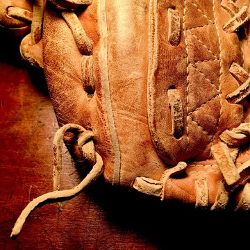 Detail of leather baseball glove.