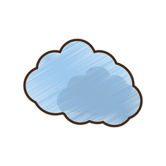 drawing blue cloud symbol vector illustration eps 10